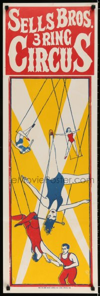 3g006 SELLS BROS 3 RING CIRCUS 14x42 circus poster 1960s cool trapeze act artwork!