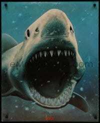 3g278 JAWS 23x28 commercial poster 1975 close-up of man-eating shark with his mouth wide open!