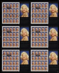 3g015 MARILYN MONROE uncut stamp sheet 18x22 1995 6 sets postmarked on first day of issue, rare!
