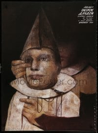 3g349 GEORGES DANDIN stage play Polish 27x36 1990 person holding a marionette by Wiktor Sadowski!