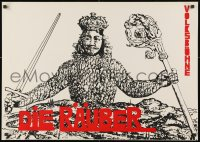 3g342 DIE RAUBER 23x32 East German stage poster 1971 Friedrich Schiller, man with sword and crown!