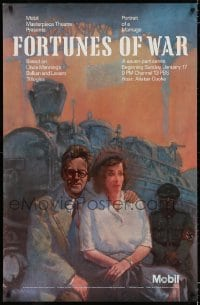 3g081 FORTUNES OF WAR tv poster 1988 cool train railroad artwork by Richard Sparks!