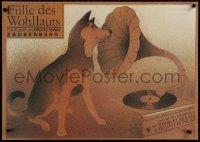 3g347 FULLE DES WOHLLAUTS 23x32 East German stage poster 1978 dog listening to phonograph!