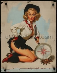 3g486 GIL ELVGREN 16x21 special poster 1950 pin-up, sexy cowgirl holding Motor Cargo frying pan!