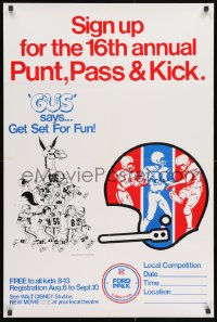 3g490 GUS 24x36 special poster 1976 Walt Disney, art of football playing mule, punt, pass & kick!