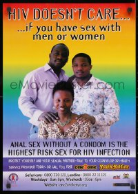 3g496 HIV DOESN'T CARE 17x24 Kenyan special poster 1990s AIDS, who you have sex with!