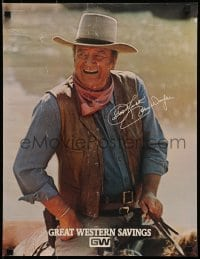 3g502 JOHN WAYNE 2-sided 17x22 special poster 1979 great c/u cowboy portrait + biography on back!