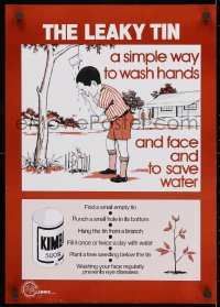 3g514 LEAKY TIN 17x24 Kenyan special poster 1990s art of a boy washing his face!
