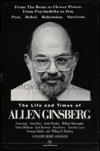 3g515 LIFE & TIMES OF ALLEN GINSBERG 24x36 special poster 1994 cool smiling close-up!