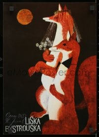 3g364 LISKA BYSTROUSKA 12x17 Czech stage poster 1990s art of two foxes getting married!