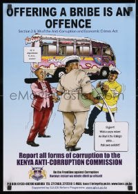 3g528 OFFERING A BRIBE IS AN OFFENCE 17x24 Kenyan special poster 2000s report all forms of corruption!