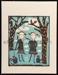 3g074 UNKNOWN ART PRINT signed #49/120 14x18 art print 1999 children with cats in the forest!