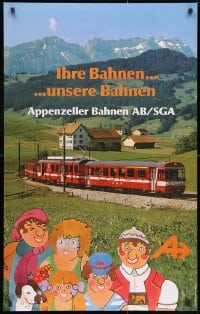 3g039 APPENZELL RAILWAYS 25x40 Swiss travel poster 1970s train & mountains with art by Luginbuhl!
