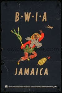 3g033 BWIA JAMAICA 20x30 English travel poster 1950s native with bananas by Aldo Cosomati!