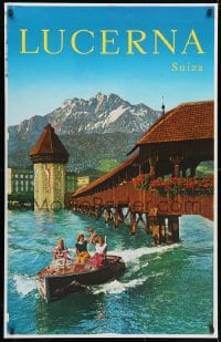 3g040 LUCERNA SUIZA printer's test 27x42 Swiss travel poster 1960s boat by the Kapellbrucke!