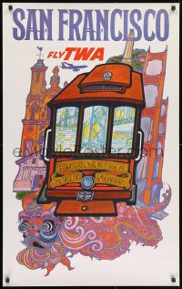 3g043 TWA SAN FRANCISCO 25x40 travel poster 1960s fantastic art of cable car & city by David Klein!