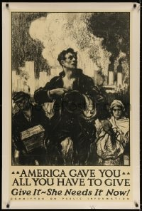 3g026 AMERICA GAVE YOU ALL YOU HAVE TO GIVE 28x42 WWI war poster 1917 workers & smokestacks by Taylor!