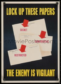3g028 LOCK UP THESE PAPERS 14x20 WWII war poster 1943 protect secrets, the enemy is vigilant!