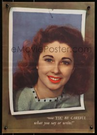 3g029 NOW YOU BE CAREFUL 14x20 WWII war poster 1945 image of a smiling woman popping out of photo!