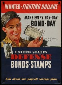 3g030 UNITED STATES DEFENSE BONDS STAMPS 20x28 WWII war poster 1942 make pay-day bond-day!