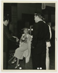 3h074 8 BELLS candid 8x10 still 1935 Ann Sothern sips tea & listens to dialogue coach by Ray Jones!
