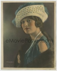 3h027 ALICE CALHOUN color deluxe 8x10 still 1920s portrait in fur coat & hat by C. Heighton Monroe!