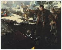 3h029 BLADE RUNNER color 8x10 still 1982 Harrison Ford in street pointing gun, Ridley Scott classic!