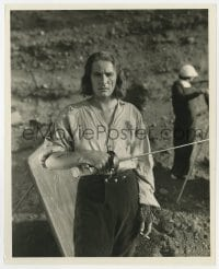 3h177 CAPTAIN BLOOD candid 8x10 still 1935 great close up of Errol Flynn holding sword & smoking!