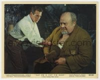 3h033 CAT ON A HOT TIN ROOF color 8x10 still #9 1958 Paul Newman confronting Burl Ives close up!