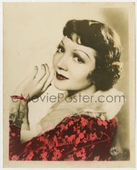 3h034 CLAUDETTE COLBERT color 8x10 still 1940s head & shoulders portrait with facsimile signature!