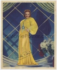 3h036 DANIELLE DARRIEUX color deluxe 8x10 still 1938 modeling great dress & fur, Rage of Paris!