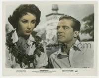 3h040 ELEPHANT WALK color 8x10.25 still 1954 Dana Andrews stares at worried Elizabeth Taylor!