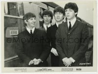 3h395 HARD DAY'S NIGHT 7.75x10 still 1964 portrait of Beatles Paul, John, Ringo & George by train!