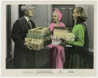 3h024 HOW TO MARRY A MILLIONAIRE color 8x10 still 1953 Powell gives gifts to Monroe & Bacall!
