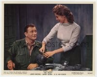 3h045 JET PILOT color 8x10 still 1957 Janet Leigh pouring coffee for John Wayne, Howard Hughes