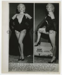 3h002 MARILYN MONROE 8.25x10 news photo 1955 two images in skimpy circus outfit for charity event!