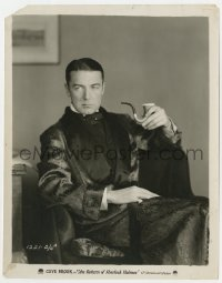 3h765 RETURN OF SHERLOCK HOLMES 8x10 still 1929 great seated portrait of Clive Brook with pipe!