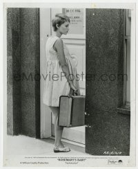 3h785 ROSEMARY'S BABY 8x10 still 1968 Mia Farrow with suitcase standing outside doctor's office!