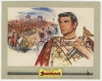3h059 SPARTACUS color 8x10 still 1960 wonderful art of Laurence Olivier as Crassus, Stanley Kubrick