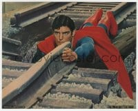 3h063 SUPERMAN color 8x10 still 1978 Christopher Reeve on tracks trying to save train from crashing!