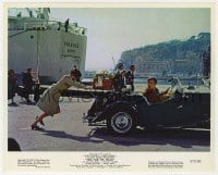 3h067 TWO FOR THE ROAD color 8x10 still 1967 Audrey Hepburn pushing Albert Finney in car!
