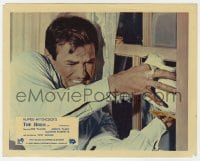 3h028 BIRDS color English FOH LC 1963 Hitchcock, c/u of Rod Taylor trying to stop them at window!