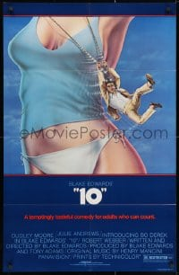 3j003 '10' 26x40 1sh 1979 Blake Edwards, Alvin art of Dudley Moore, sexy Bo Derek, no border design