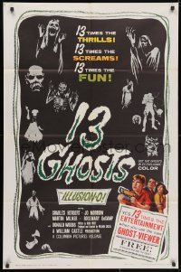 3j004 13 GHOSTS 1sh 1960 William Castle, great art of the spooks, horror in ILLUSION-O!