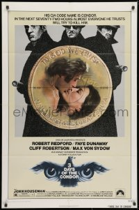 3j001 3 DAYS OF THE CONDOR 1sh 1975 CIA analyst Robert Redford & Faye Dunaway!