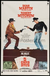 3j002 5 CARD STUD 1sh 1968 Dean Martin & Robert Mitchum play poker & point guns at each other!