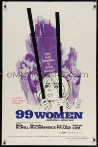 3j009 99 WOMEN 1sh 1969 Jess Franco's 99 Mujeres, they're behind bars without men, sexy art!