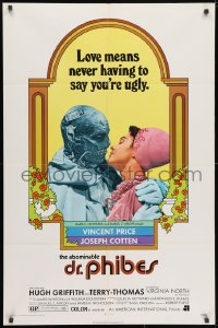 3j012 ABOMINABLE DR. PHIBES 1sh 1971 Price, love means never having to say you're ugly