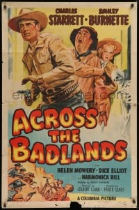 3j013 ACROSS THE BADLANDS 1sh 1950 cool artwork of cowboy Charles Starrett, Smiley Burnette!