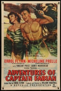 3j014 ADVENTURES OF CAPTAIN FABIAN 1sh 1951 art of barechested Errol Flynn & sexy Micheline Presle!